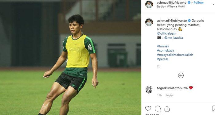 Jupe Langsung Berlatih Dengan Skuat Garuda. Photo Credit: Instagram Achmad Jufriyanto